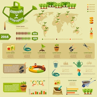 Layout infografica di giardinaggio