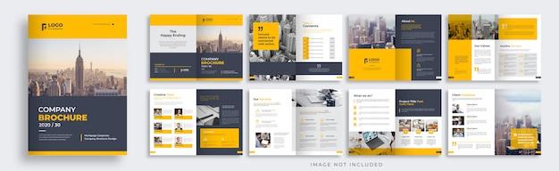Layout modello brochure azienda arancione e nero