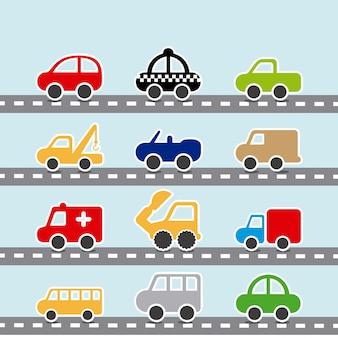 Le automobili progettano sopra l'illustrazione blu di vettore del fondo