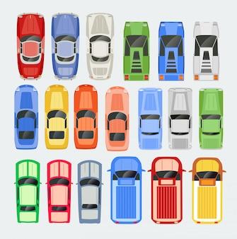 Le automobili trasportano l'illustrazione isolata insieme dell'icona di vista superiore in piano