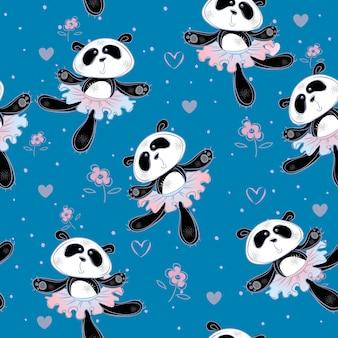 Le ballerine di panda ballano. modello senza soluzione di continuità stampa tessuto per bambini.