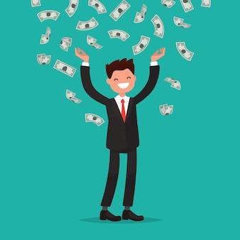Le banconote in denaro cadono al gioioso uomo d'affari.