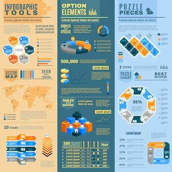 Le bandiere di infographic hanno messo con gli elementi facoltativi degli strumenti infographic e pezzi di puzzle piani