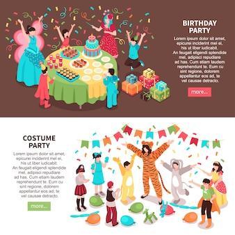 Le bandiere orizzontali animatore isometrico dei bambini hanno messo con i caratteri e gli animatori dei bambini in costumi festivi con testo