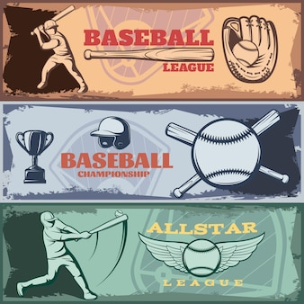 Le bandiere orizzontali dei tornei di baseball hanno messo con il trofeo dell'attrezzatura sportiva delle pastelle