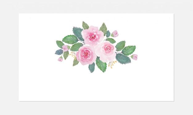 Le belle rose di tono morbido fioriscono l'acquerello sopra fondo bianco