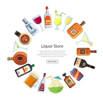 Le bevande alcoliche di vettore in vetri e le bottiglie nel cerchio si formano con il posto per testo nell'illustrazione concentrare