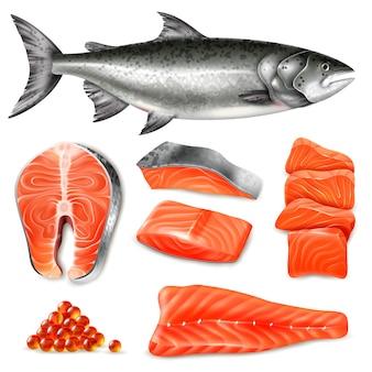 Le bistecche crude dei pesci di color salmone e le icone del caviale hanno messo isolato su bianco