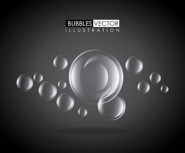 Le bolle progettano sopra l'illustrazione nera di vettore del fondo