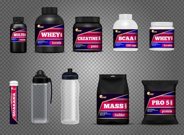 Le bottiglie della bevanda di forma fisica mettono in mostra l'insieme trasparente scuro bianco nero realistico dei pacchetti dei contenitori della proteina di nutrizione isolato