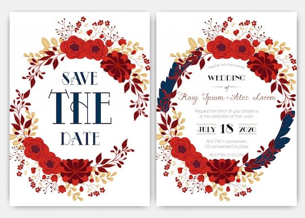 Le carte di nozze eleganti consistono di vari generi di fiori.