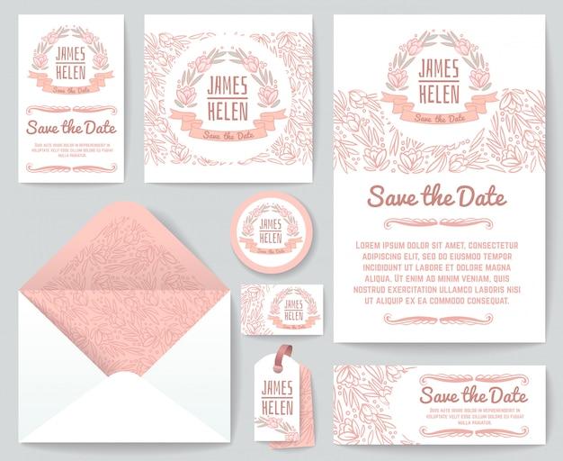 Le cartoline d'auguri dell'invito di nozze dell'annata vector il modello con gli elementi e i fiori floreali rustici disegnati a mano