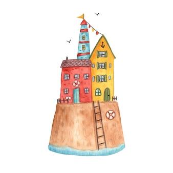 Le case di estate dell'illustrazione della riva di mare della città della città di vettore dell'acquerello viaggiano