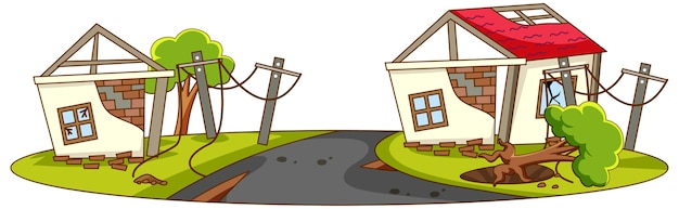 Le case vengono distrutte da un disastro naturale