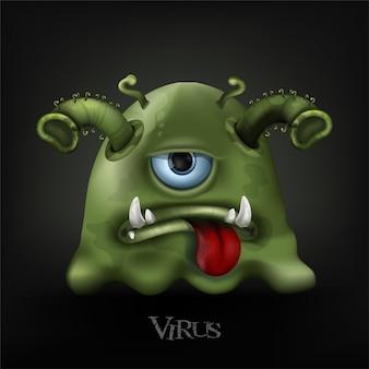 Le cellule del virus covid-19 o corona virus e batteri si chiudono isolato su sfondo nero.