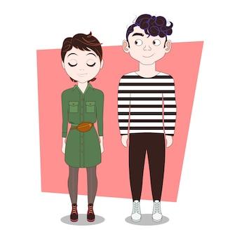Le coppie dei pantaloni a vita bassa dei giovani in vestiti equipaggiano l'uomo e la donna integrali