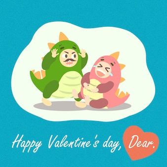 Le coppie della carta del biglietto di s. valentino strana insieme indossano la lucertola divertente di godzilla di amore di emoji del costume del dinosauro