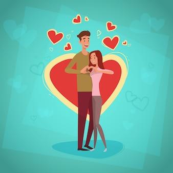 Le coppie di festa di san valentino abbracciano la cartolina d'auguri di forma del cuore di amore