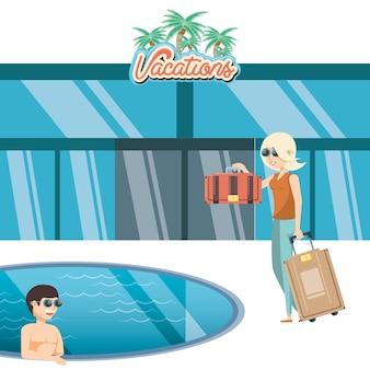 Le coppie di vacanze nel ilustration di vettore di viaggio dello stagno