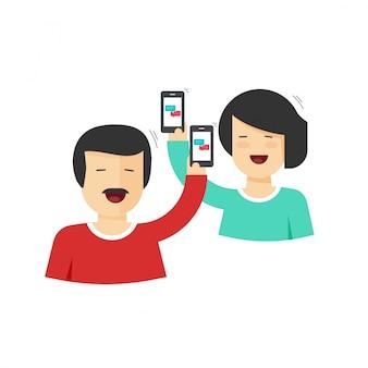 Le coppie felici equipaggiano e telefoni cellulari della tenuta della donna in mani che chiacchierano fumetto piano
