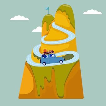 Le coppie felici viaggiano insieme. viaggio di coppia in auto. l'uomo e la donna si siedono in un suv, gli amici felici avventurano il mondo insieme. paesaggi stile piatto. concetto di viaggio, luna di miele, turismo e vacanze.