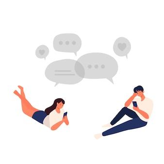 Le coppie maschii e femminili chiacchierano tra loro romanticamente online con l'illustrazione del carattere umano dello smartphone
