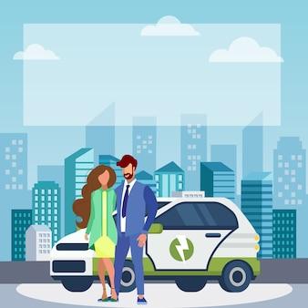 Le coppie si avvicinano all'illustrazione piana di vettore dell'automobile elettrica