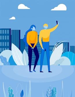 Le coppie sull'illustrazione di paesaggio urbano, fanno la foto di selfie.