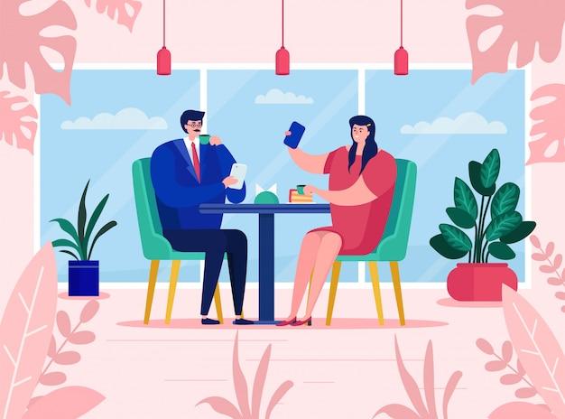 Le coppie usano gli aggeggi al caffè, illustrazione. uomo donna personaggio seduto tavolo ristorante, appuntamento romantico. la ragazza fa selfie