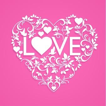 Le decorazioni floreali formano il cuore e l'amore. buon san valentino. disegno di arte di carta