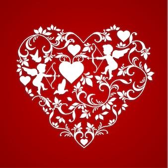Le decorazioni floreali formano il cuore e l'amore. disegno di arte di carta