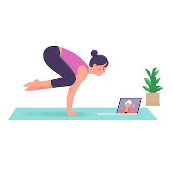 Le donne che fanno yoga durante la loro permanenza a casa durante la conferenza videochiamata
