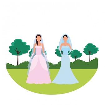 Le donne che indossano abiti da sposa