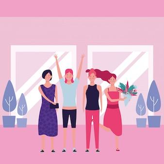 Le donne con fiori e mani in alto