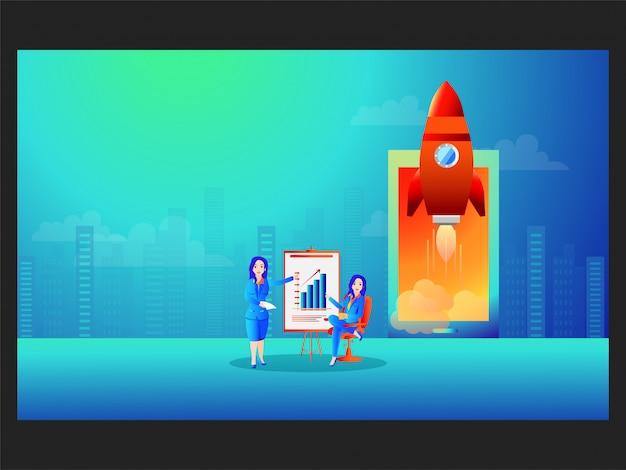 Le donne d'affari hanno presentato una presentazione infografica con il lancio di un progetto di successo.