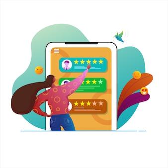 Le donne danno recensioni per la landing page