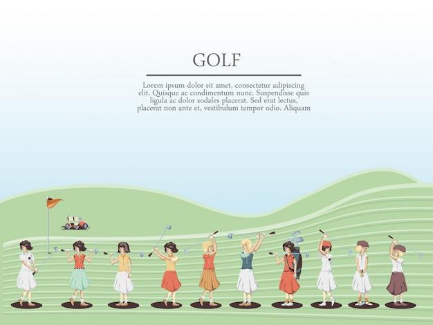 Le donne del giocatore di golf nel corso