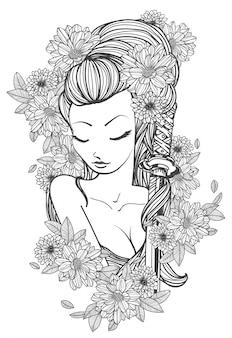 Le donne di arte del tatuaggio e la mano del fiore disegnano e schizzano in bianco e nero