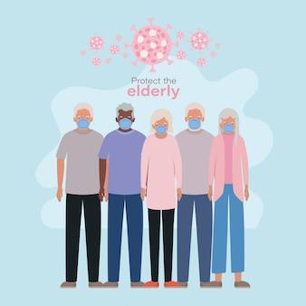 Le donne e gli uomini più anziani con le maschere contro covid 19 progettano l'emergenza di salute di igiene di assistenza medica e l'illustrazione paziente di tema