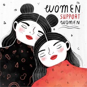 Le donne sostengono il concetto delle donne