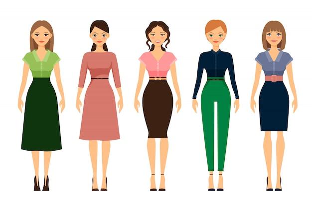 Le donne vestono codice icone di stile romantico