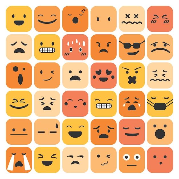 Le emoticon emoji impostano la raccolta di sentimenti espressione faccia