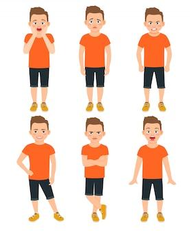 Le emozioni differenti dei ragazzi vector l'illustrazione. bambino in piedi scioccato e meravigliato, espressioni del ragazzo sorpreso e infelice isolato