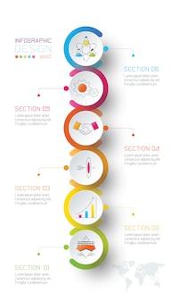 Le etichette del cerchio di affari modellano infographic.