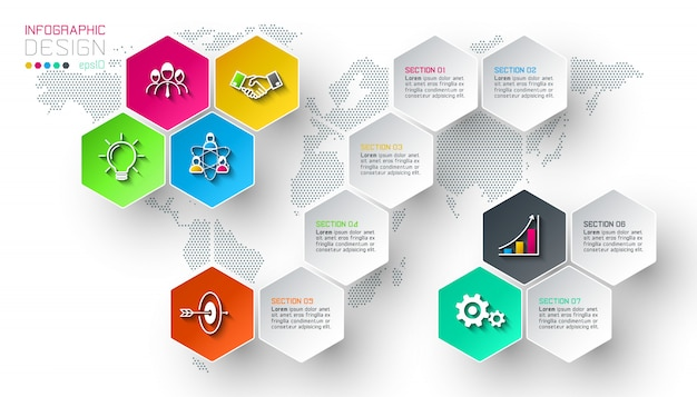 Le etichette della rete di esagono di affari modellano la barra infographic.