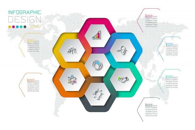 Le etichette di esagono di affari modellano infographic sul cerchio.