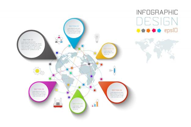 Le etichette di puntamento di affari modellano infographic.