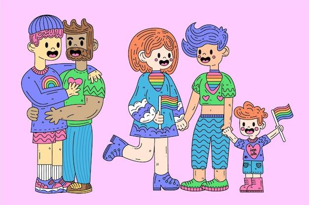 Le famiglie del giorno dell'orgoglio trascorrono del tempo insieme
