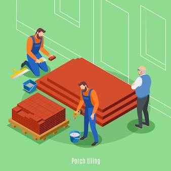Le fasi della costruzione della camera con due uomini che piastrellano del portico e del cliente anziano che supervisionano l'illustrazione di vettore del lavoro