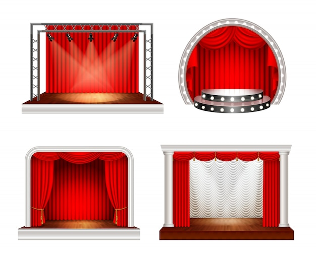Le fasi realistiche hanno messo con quattro immagini della fase dello spazio vuoto con le tende rosse e l'illustrazione di vettore delle attrezzature di illuminazione